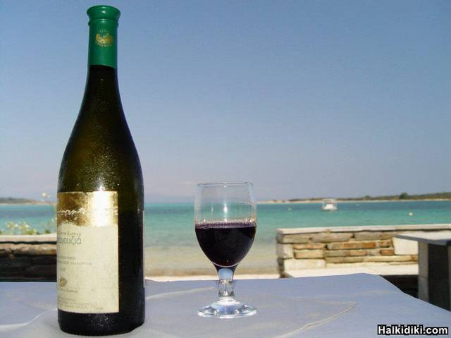greek wine on the beach