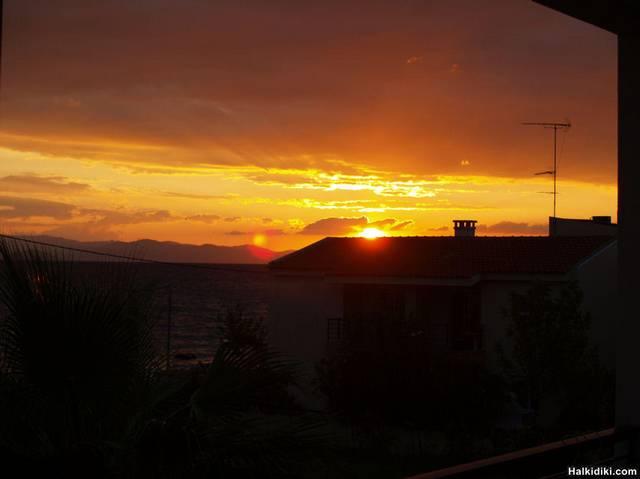 Sunrise from the balcony Nemo Appartments Polichrono